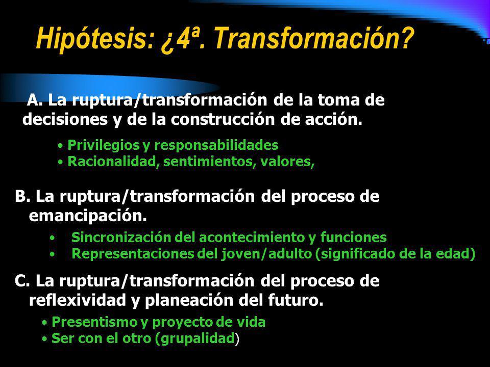 Hipótesis: ¿4ª. Transformación? A. La ruptura/transformación de la toma de decisiones y de la construcción de acción. B. La ruptura/transformación del