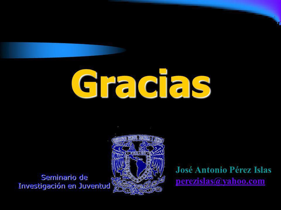 Gracias José Antonio Pérez Islas perezislas@yahoo.com Seminario de Investigación en Juventud