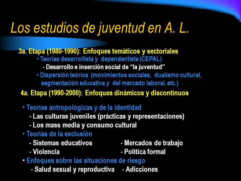 3a. Etapa (1980-1990): Enfoques temáticos y sectoriales Teorías desarrollista y dependentista (CEPAL) - Desarrollo e inserción social de la juventud D