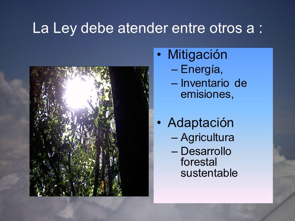 Prevención de riesgos por vulnerabilidad; Control de ríos y prevención de inundaciones agua para la Agricultura sustentable Producción de Energías alternativas bioenergéticos Deforestación y desertificación LA LEY DEBE A PARTIR DE LA AGENDA AMBIENTAL EN MATERIA DE CAMBIO CLIMÁTICO RESOLVER EN EL CASO DEL AGUA ESTOS TEMAS