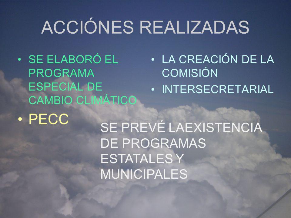 Comisión Intersecretarial de Cambio Climático Para cumplir a nivel interno con los compromisos internacionales es que se crea la Comisión Intersecretarial de Cambio Climático, por acuerdo presidencial publicado el 25 de abril del 2005 para coordinar las acciones de las dependencias y entidades de la Administración pública Federal en relación a los compromisos internacionales suscritos por México.