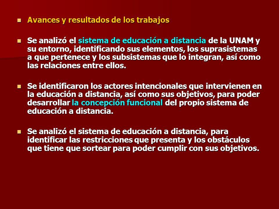 Avances y resultados de los trabajos Avances y resultados de los trabajos Se analizó el sistema de educación a distancia de la UNAM y su entorno, iden