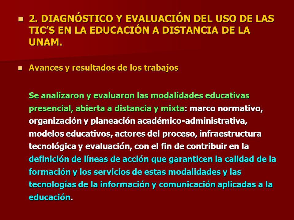 2. DIAGNÓSTICO Y EVALUACIÓN DEL USO DE LAS TICS EN LA EDUCACIÓN A DISTANCIA DE LA UNAM. 2. DIAGNÓSTICO Y EVALUACIÓN DEL USO DE LAS TICS EN LA EDUCACIÓ