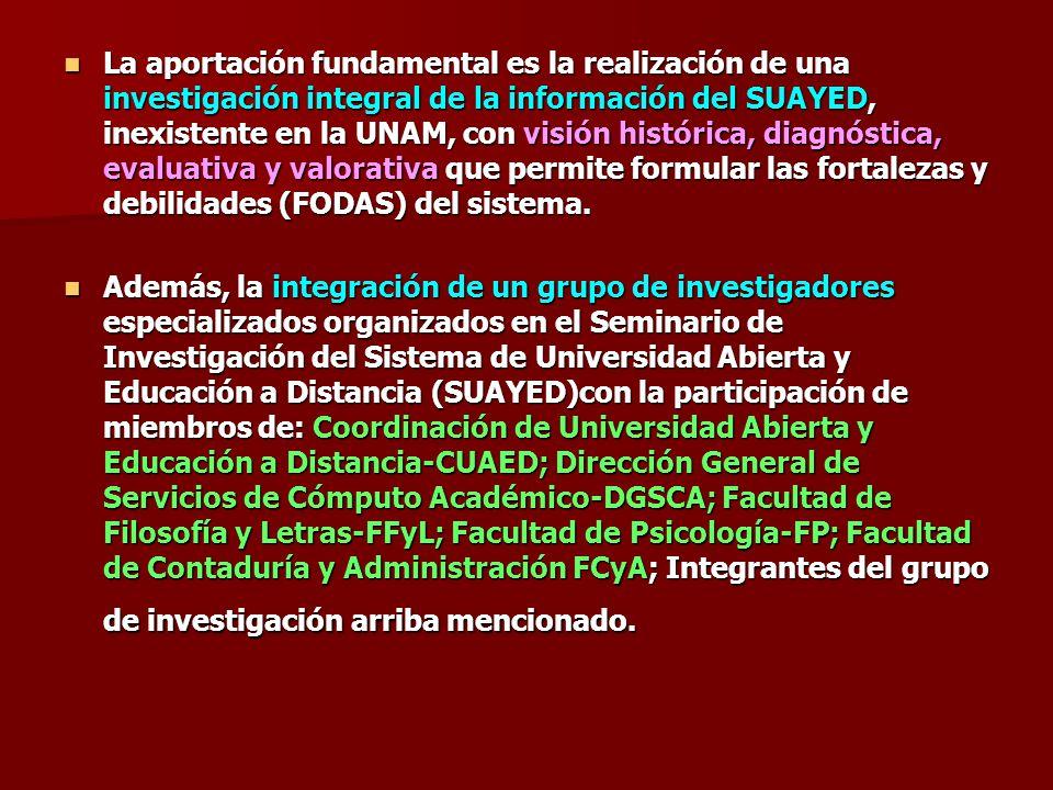 La aportación fundamental es la realización de una investigación integral de la información del SUAYED, inexistente en la UNAM, con visión histórica,