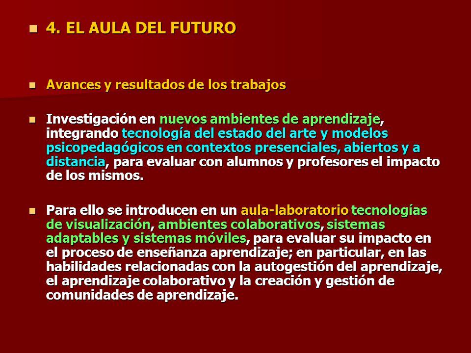 4. EL AULA DEL FUTURO 4. EL AULA DEL FUTURO Avances y resultados de los trabajos Avances y resultados de los trabajos Investigación en nuevos ambiente