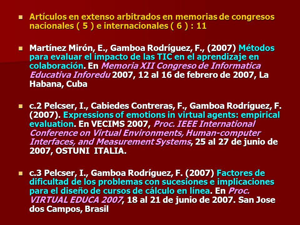 Artículos en extenso arbitrados en memorias de congresos nacionales ( 5 ) e internacionales ( 6 ) : 11 Artículos en extenso arbitrados en memorias de