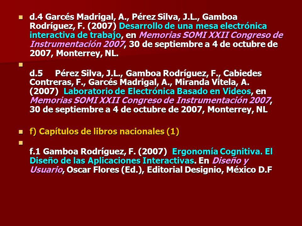 d.4 Garcés Madrigal, A., Pérez Silva, J.L., Gamboa Rodríguez, F. (2007) Desarrollo de una mesa electrónica interactiva de trabajo, en Memorias SOMI XX