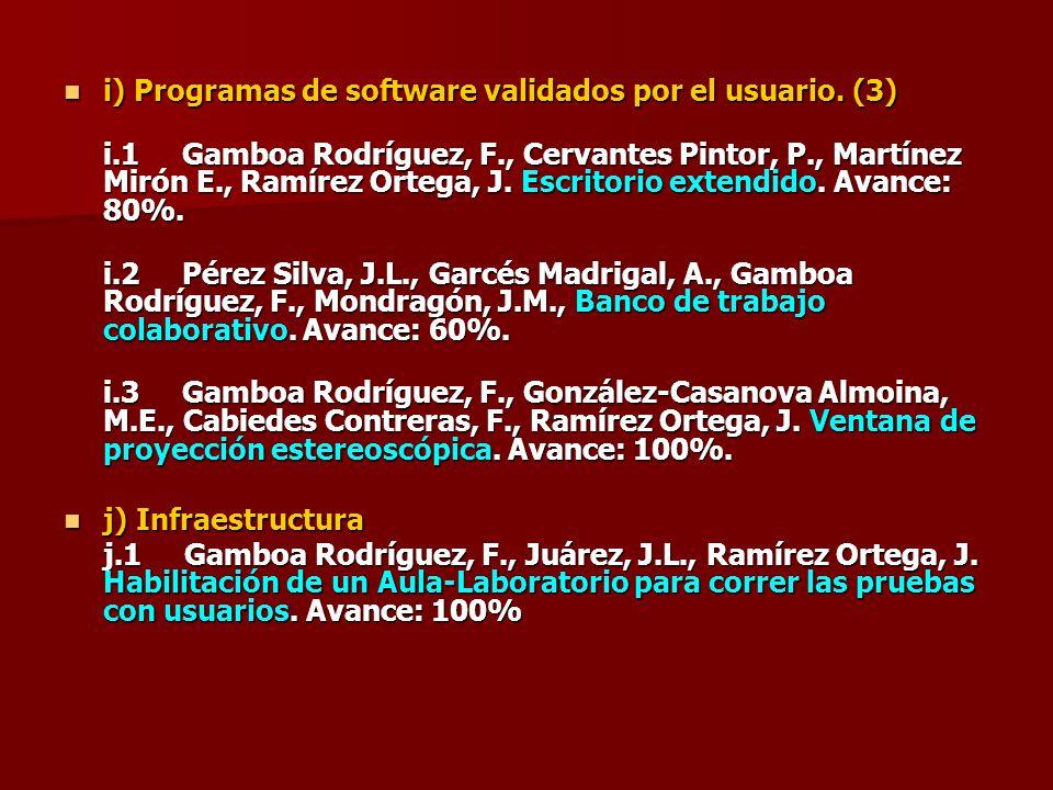 i) Programas de software validados por el usuario. (3) i) Programas de software validados por el usuario. (3) i.1 Gamboa Rodríguez, F., Cervantes Pint