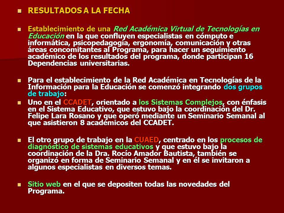 RESULTADOS A LA FECHA RESULTADOS A LA FECHA Establecimiento de una Red Académica Virtual de Tecnologías en Educación en la que confluyen especialistas