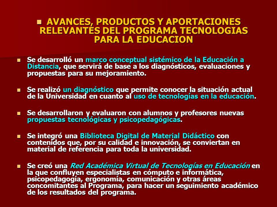 AVANCES, PRODUCTOS Y APORTACIONES RELEVANTES DEL PROGRAMA TECNOLOGIAS PARA LA EDUCACION AVANCES, PRODUCTOS Y APORTACIONES RELEVANTES DEL PROGRAMA TECN