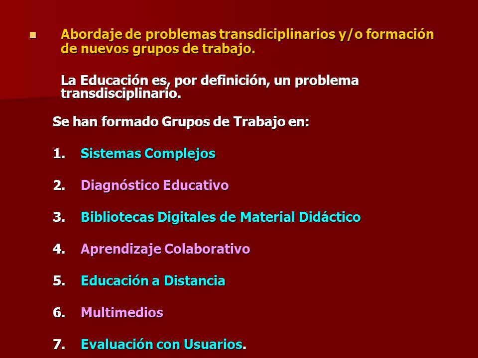 Abordaje de problemas transdiciplinarios y/o formación de nuevos grupos de trabajo. Abordaje de problemas transdiciplinarios y/o formación de nuevos g