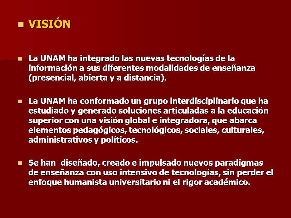 VISIÓN VISIÓN La UNAM ha integrado las nuevas tecnologías de la información a sus diferentes modalidades de enseñanza (presencial, abierta y a distanc