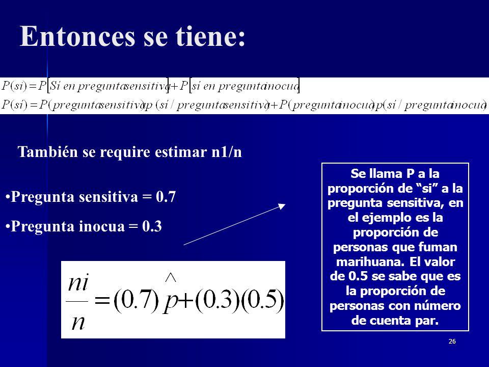25 Mendez, I.et al. (2004); proponen el siguiente ejemplo: Supongase que se desea conocer la proporción de estudiantes de la UNAM que fuman marihuana.