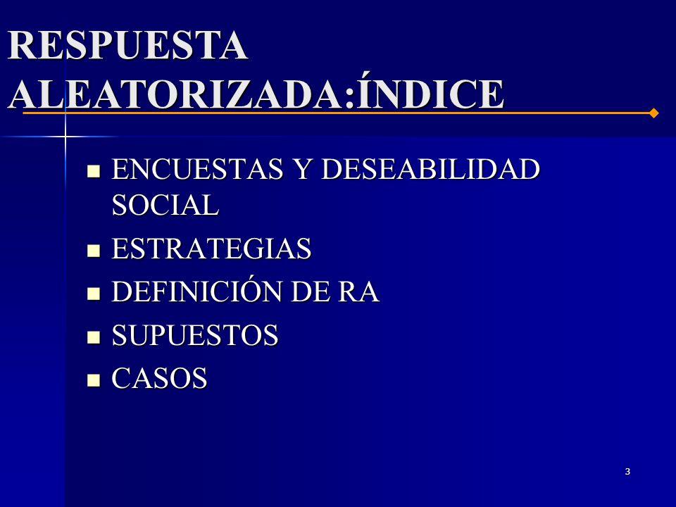 3 ENCUESTAS Y DESEABILIDAD SOCIAL ENCUESTAS Y DESEABILIDAD SOCIAL ESTRATEGIAS ESTRATEGIAS DEFINICIÓN DE RA DEFINICIÓN DE RA SUPUESTOS SUPUESTOS CASOS CASOS RESPUESTA ALEATORIZADA:ÍNDICE