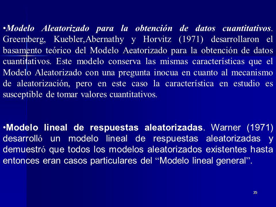 34 Modelo Aleatorizado con una pregunta inocua. Simmons (1967) sostenía que la confianza de los entrevistados se vería incrementada si en vez de conte