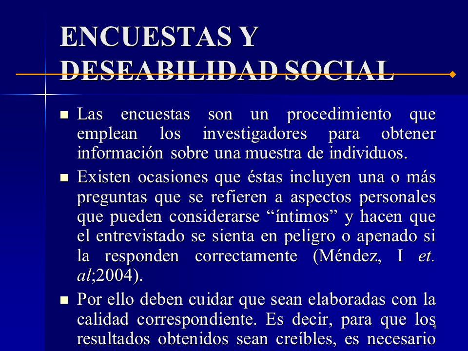 3 ENCUESTAS Y DESEABILIDAD SOCIAL ENCUESTAS Y DESEABILIDAD SOCIAL ESTRATEGIAS ESTRATEGIAS DEFINICIÓN DE RA DEFINICIÓN DE RA SUPUESTOS SUPUESTOS CASOS