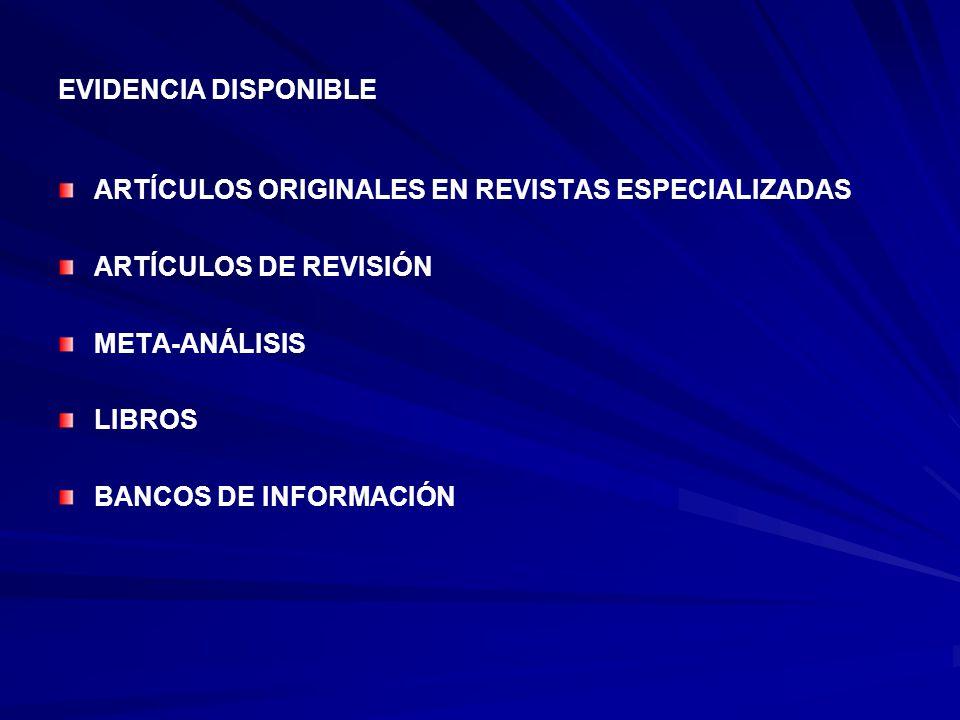 EVIDENCIA DISPONIBLE ARTÍCULOS ORIGINALES EN REVISTAS ESPECIALIZADAS ARTÍCULOS DE REVISIÓN META-ANÁLISIS LIBROS BANCOS DE INFORMACIÓN