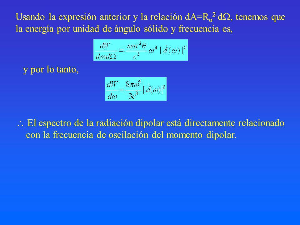 Usando la expresión anterior y la relación dA=R o 2 d, tenemos que la energía por unidad de ángulo sólido y frecuencia es, y por lo tanto, El espectro de la radiación dipolar está directamente relacionado con la frecuencia de oscilación del momento dipolar.