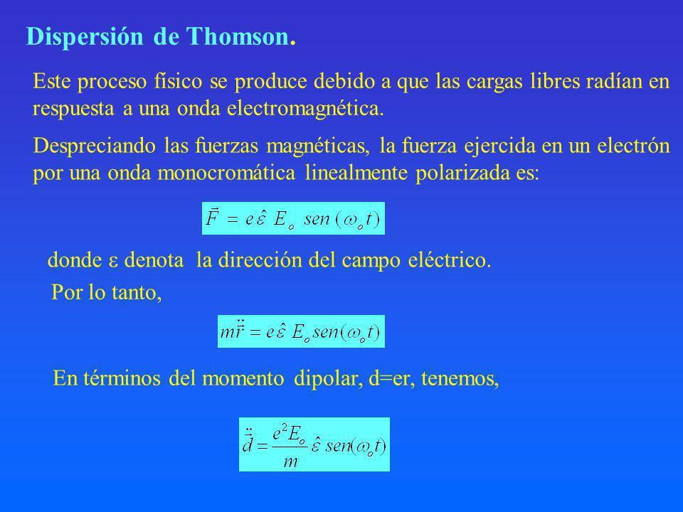 Dispersión de Thomson.donde denota la dirección del campo eléctrico.