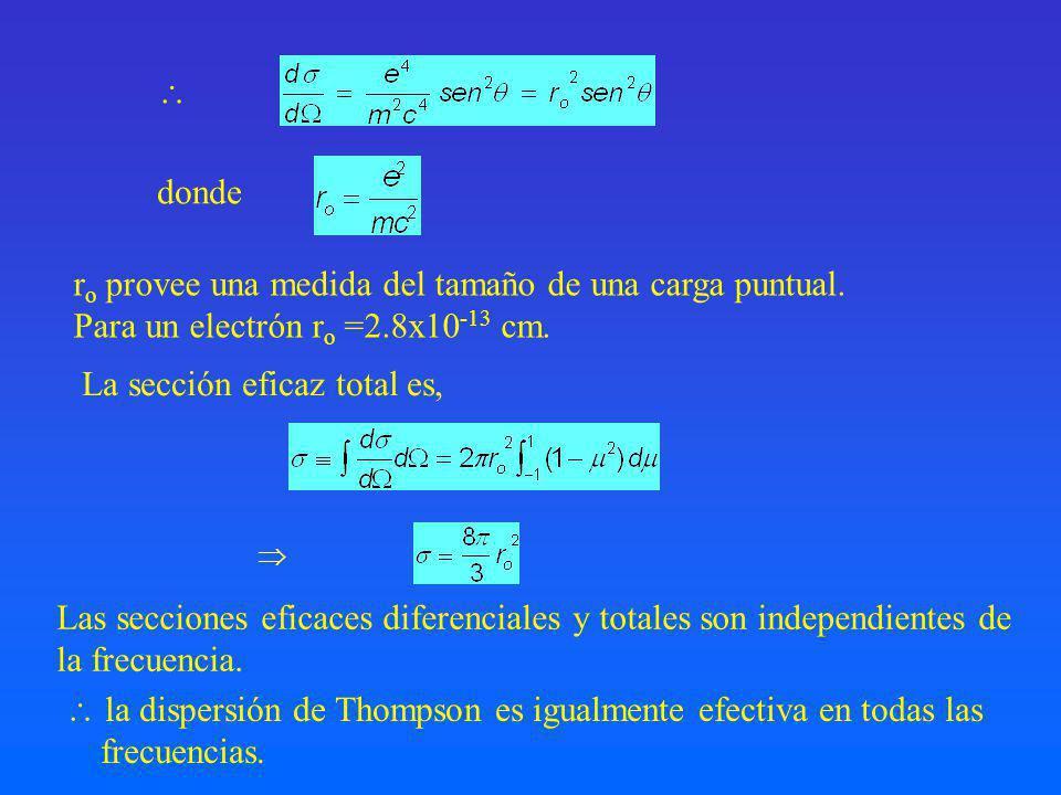 donde r o provee una medida del tamaño de una carga puntual.