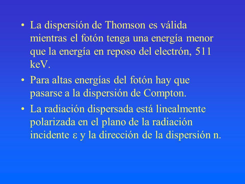 La dispersión de Thomson es válida mientras el fotón tenga una energía menor que la energía en reposo del electrón, 511 keV.