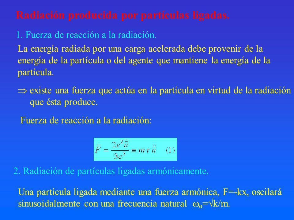 Radiación producida por partículas ligadas.2. Radiación de partículas ligadas armónicamente.