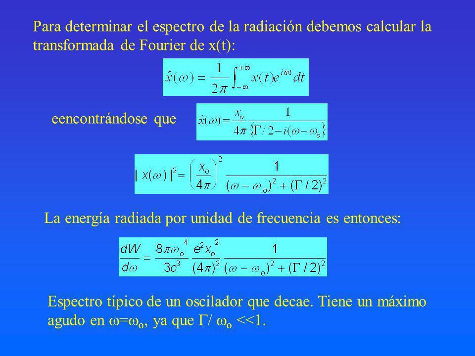 Para determinar el espectro de la radiación debemos calcular la transformada de Fourier de x(t): eencontrándose que La energía radiada por unidad de frecuencia es entonces: Espectro típico de un oscilador que decae.
