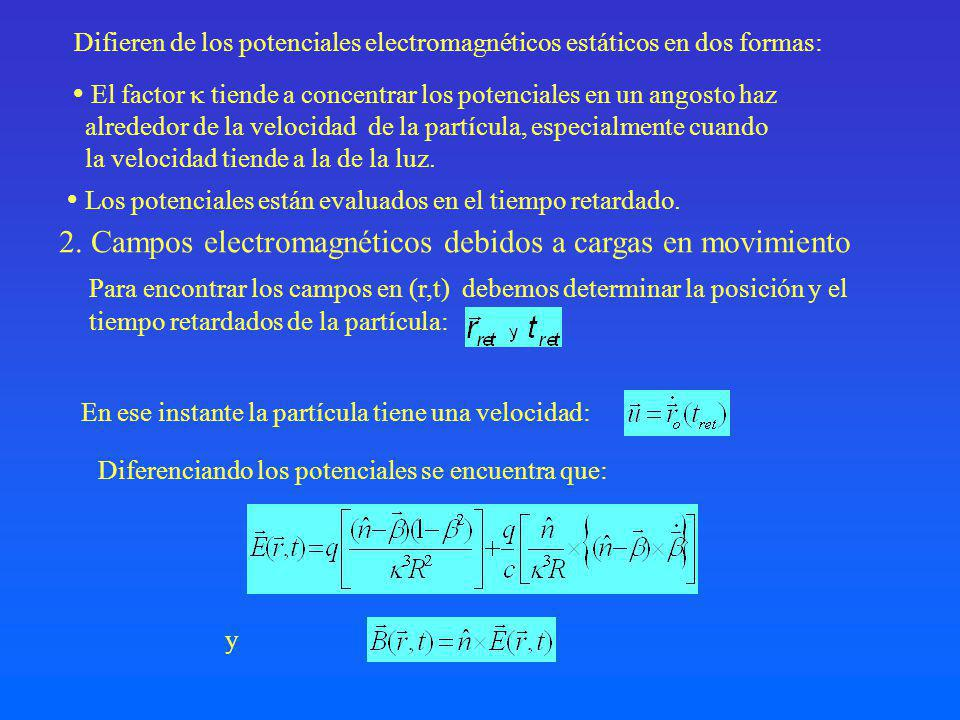 El segundo término es proporcional a la aceleración de la partícula y perpendicular a n, se denomina campo de aceleración.