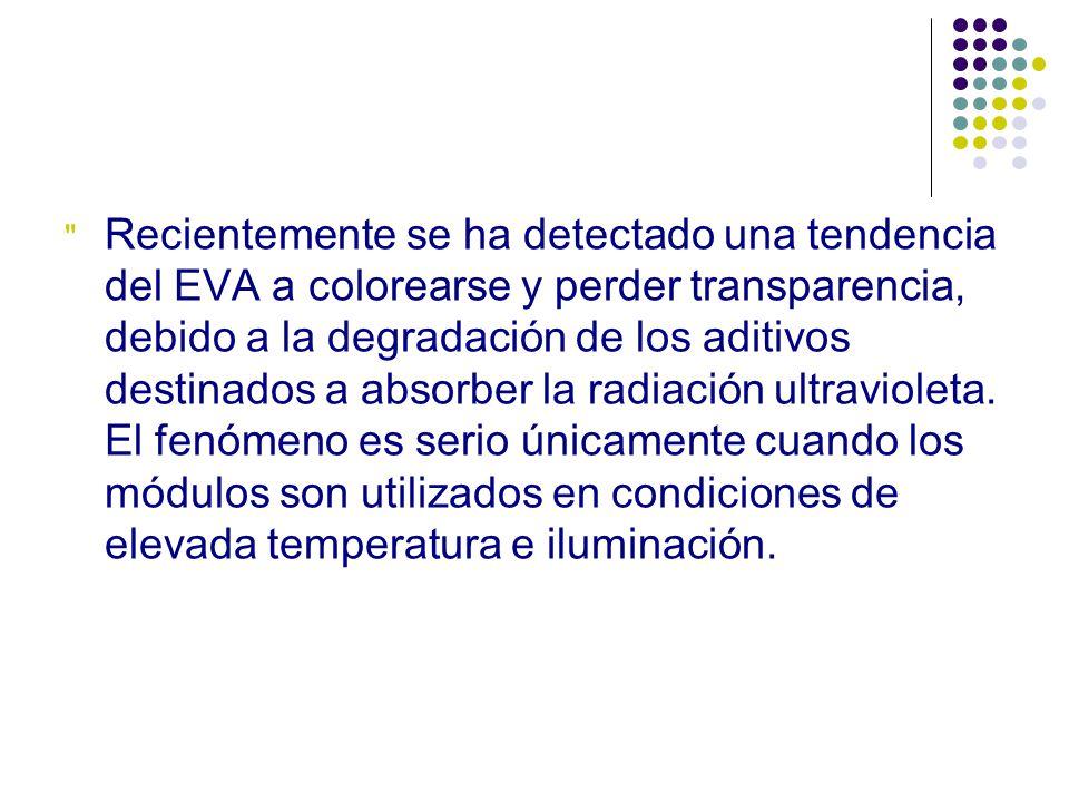 Recientemente se ha detectado una tendencia del EVA a colorearse y perder transparencia, debido a la degradación de los aditivos destinados a absorber la radiación ultravioleta.
