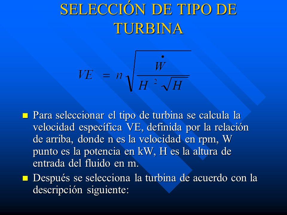 SELECCIÓN DE TIPO DE TURBINA Para seleccionar el tipo de turbina se calcula la velocidad específica VE, definida por la relación de arriba, donde n es la velocidad en rpm, W punto es la potencia en kW, H es la altura de entrada del fluido en m.