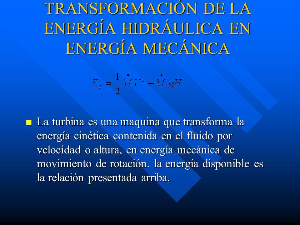TRANSFORMACIÓN DE LA ENERGÍA HIDRÁULICA EN ENERGÍA MECÁNICA La turbina es una maquina que transforma la energía cinética contenida en el fluido por velocidad o altura, en energía mecánica de movimiento de rotación.
