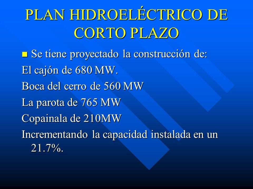 PLAN HIDROELÉCTRICO DE CORTO PLAZO Se tiene proyectado la construcción de: Se tiene proyectado la construcción de: El cajón de 680 MW.