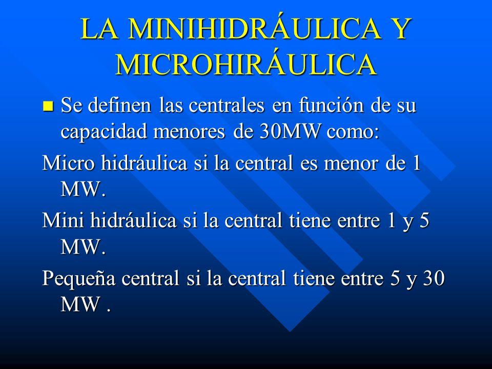 LA MINIHIDRÁULICA Y MICROHIRÁULICA Se definen las centrales en función de su capacidad menores de 30MW como: Se definen las centrales en función de su capacidad menores de 30MW como: Micro hidráulica si la central es menor de 1 MW.