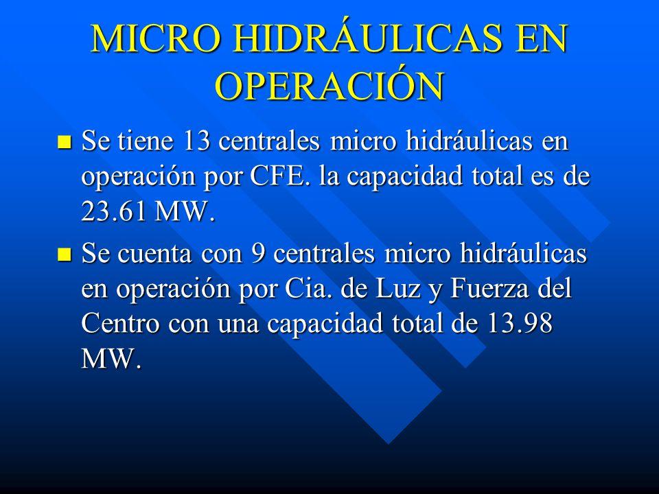 MICRO HIDRÁULICAS EN OPERACIÓN Se tiene 13 centrales micro hidráulicas en operación por CFE.
