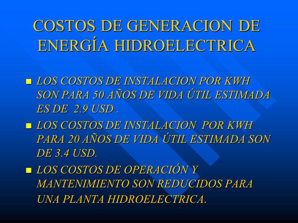 COSTOS DE GENERACION DE ENERGÍA HIDROELECTRICA LOS COSTOS DE INSTALACION POR KWH SON PARA 50 AÑOS DE VIDA ÚTIL ESTIMADA ES DE 2.9 USD.