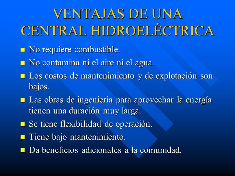 VENTAJAS DE UNA CENTRAL HIDROELÉCTRICA No requiere combustible.