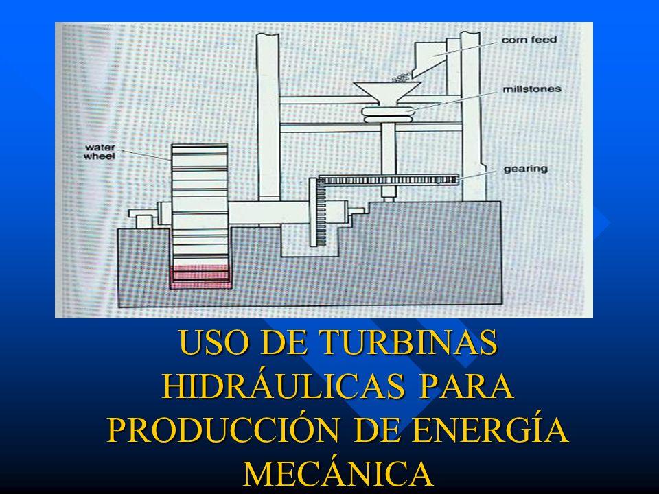 USO DE TURBINAS HIDRÁULICAS PARA PRODUCCIÓN DE ENERGÍA MECÁNICA