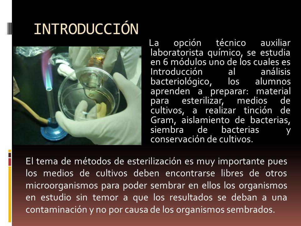 INTRODUCCIÓN La opción técnico auxiliar laboratorista químico, se estudia en 6 módulos uno de los cuales es Introducción al análisis bacteriológico, l