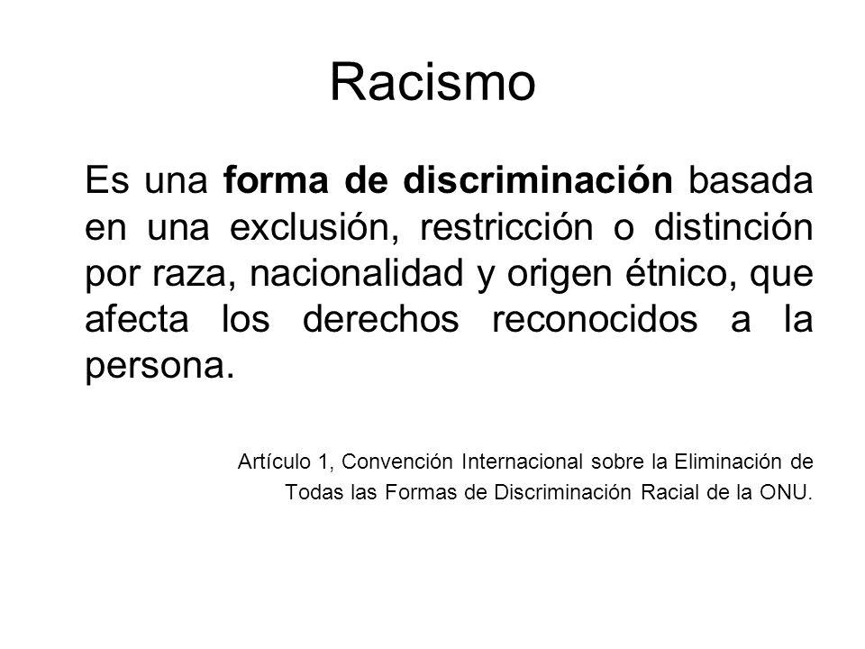 Racismo Es una forma de discriminación basada en una exclusión, restricción o distinción por raza, nacionalidad y origen étnico, que afecta los derech