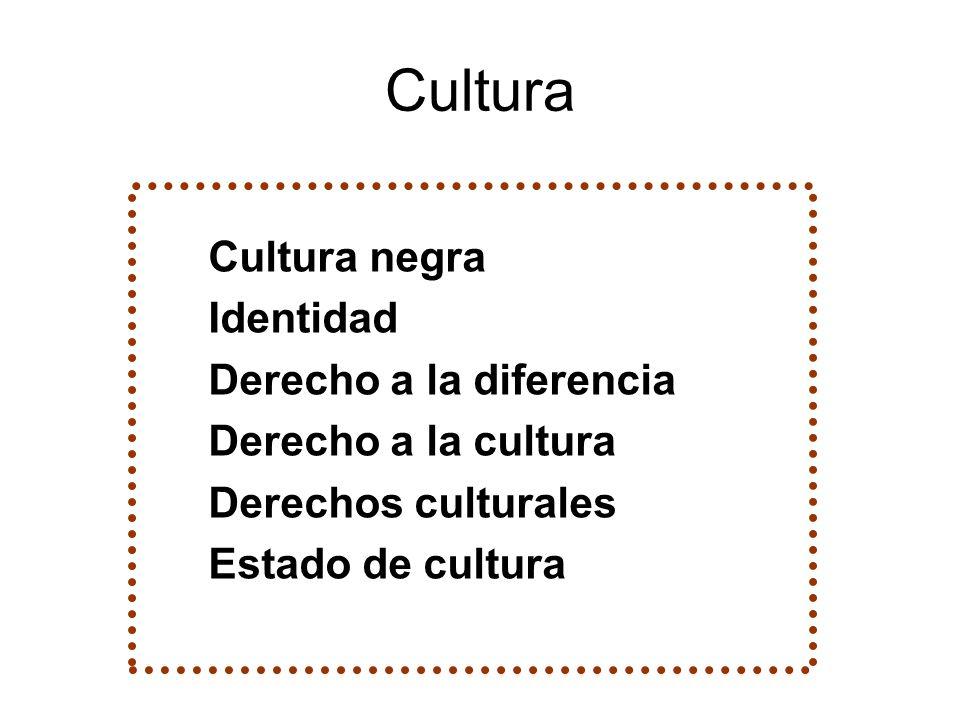 Cultura Cultura negra Identidad Derecho a la diferencia Derecho a la cultura Derechos culturales Estado de cultura