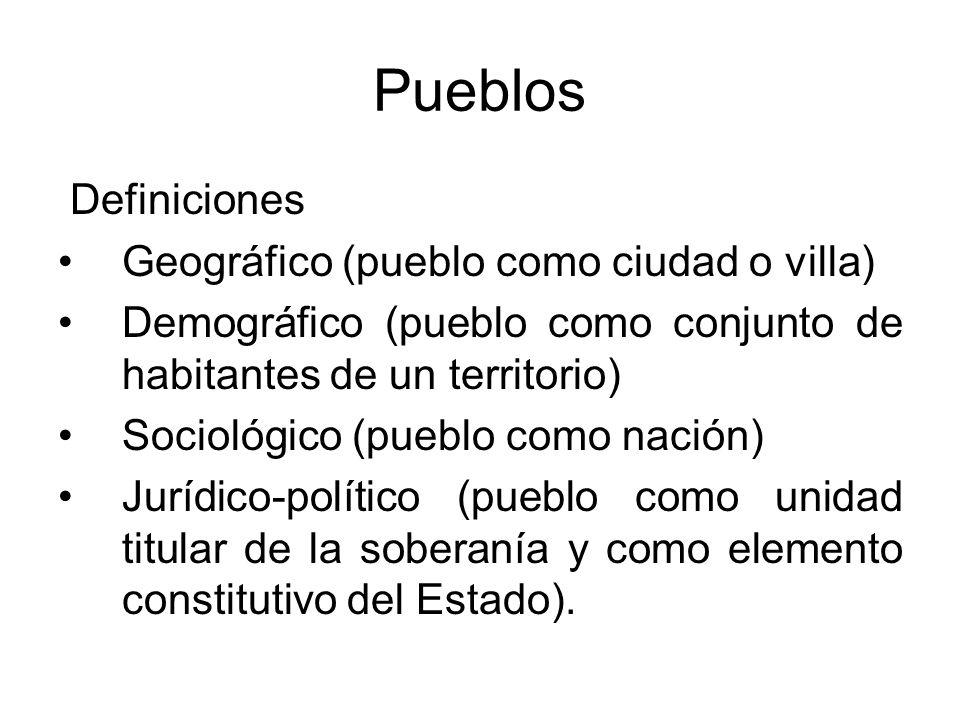 Definiciones Geográfico (pueblo como ciudad o villa) Demográfico (pueblo como conjunto de habitantes de un territorio) Sociológico (pueblo como nación
