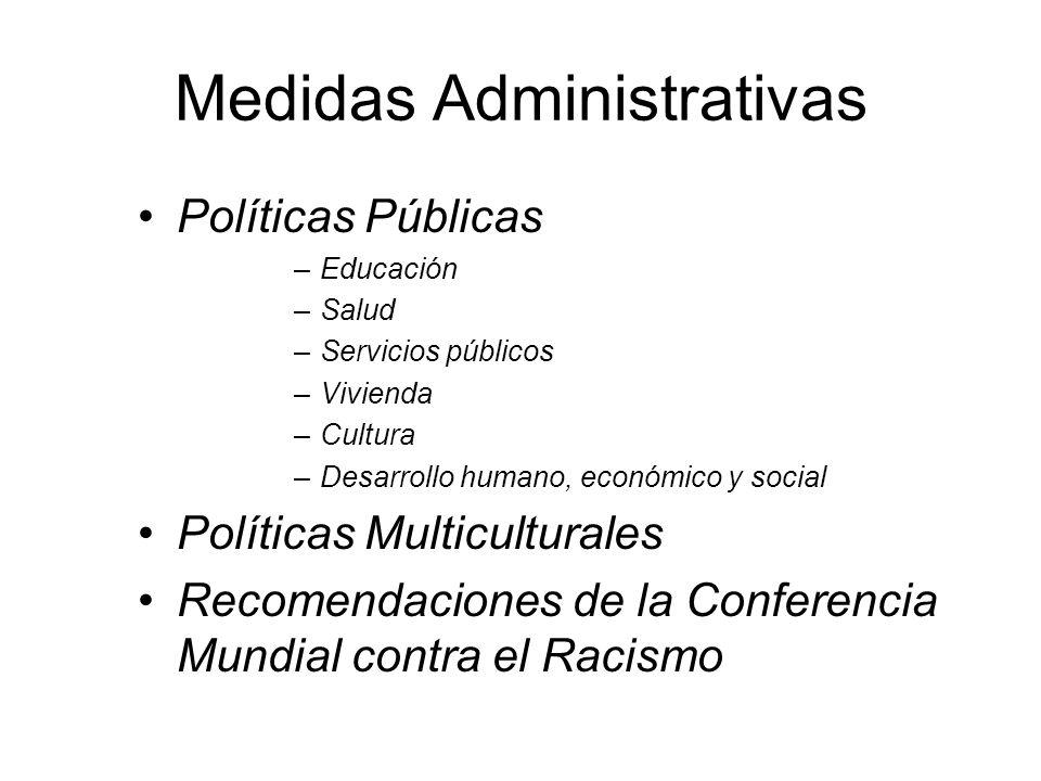Medidas Administrativas Políticas Públicas –Educación –Salud –Servicios públicos –Vivienda –Cultura –Desarrollo humano, económico y social Políticas M