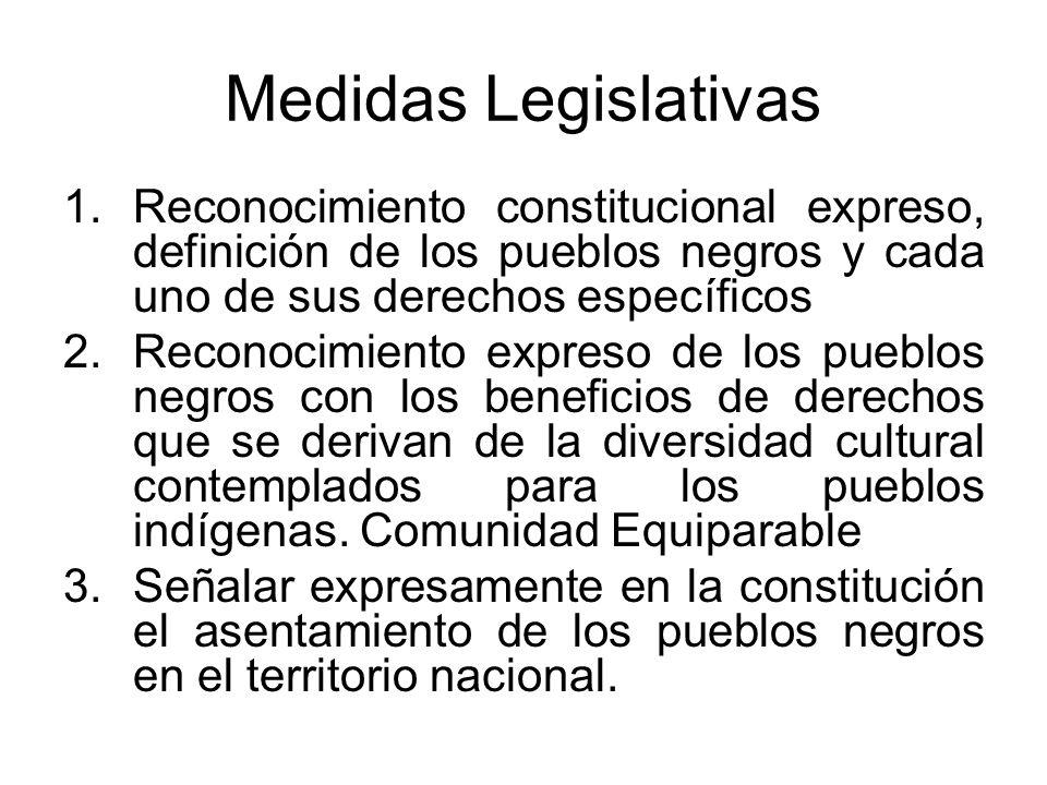 Medidas Legislativas 1.Reconocimiento constitucional expreso, definición de los pueblos negros y cada uno de sus derechos específicos 2.Reconocimiento