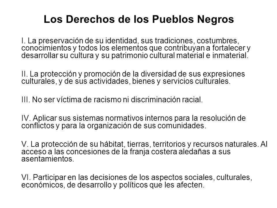 Los Derechos de los Pueblos Negros oI. La preservación de su identidad, sus tradiciones, costumbres, conocimientos y todos los elementos que contribuy