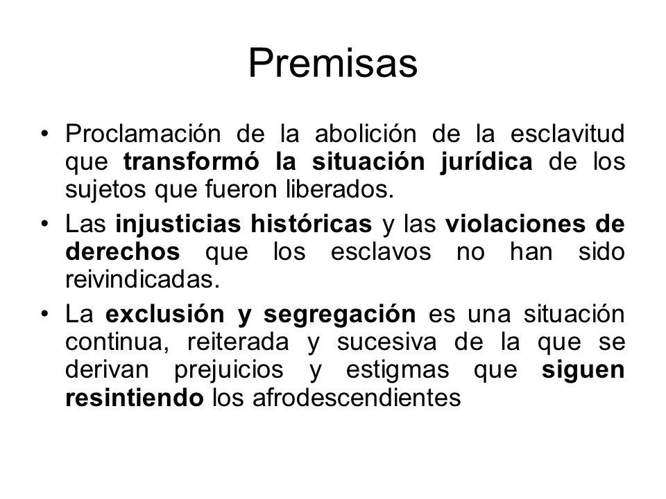 Premisas Proclamación de la abolición de la esclavitud que transformó la situación jurídica de los sujetos que fueron liberados. Las injusticias histó
