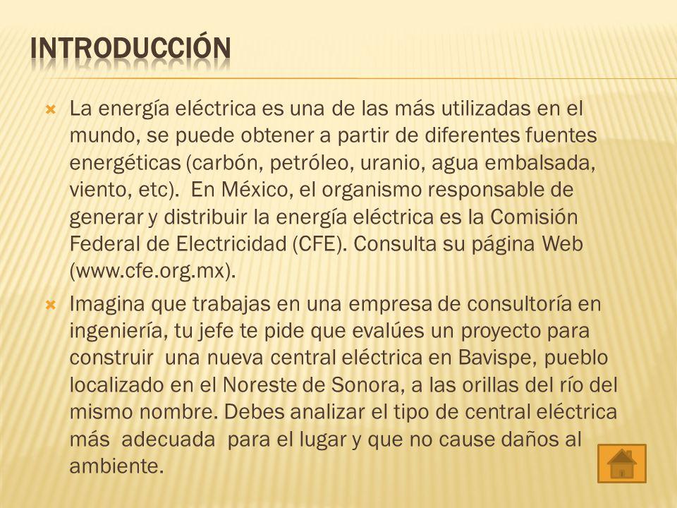 La energía eléctrica es una de las más utilizadas en el mundo, se puede obtener a partir de diferentes fuentes energéticas (carbón, petróleo, uranio,