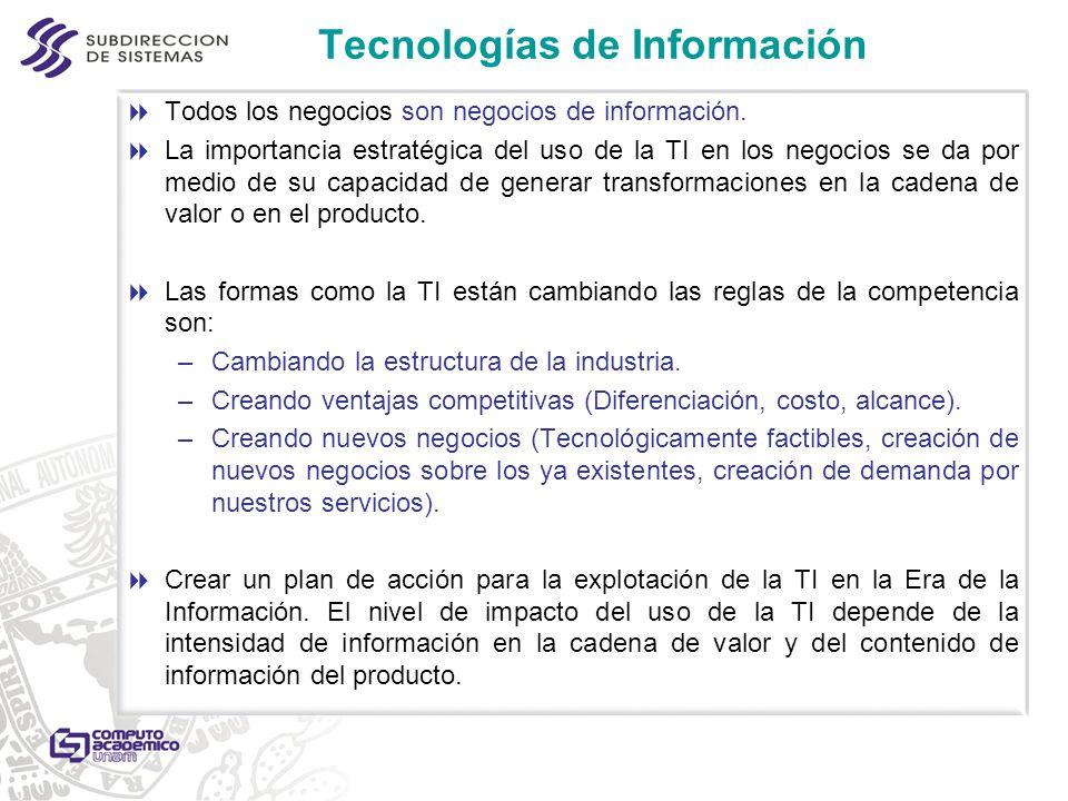 Tecnologías de Información Todos los negocios son negocios de información. La importancia estratégica del uso de la TI en los negocios se da por medio