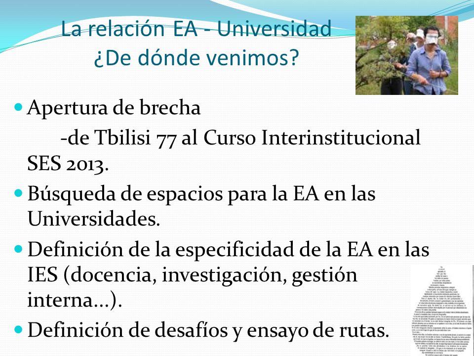 La relación EA - Universidad ¿De dónde venimos? Apertura de brecha -de Tbilisi 77 al Curso Interinstitucional SES 2013. Búsqueda de espacios para la E