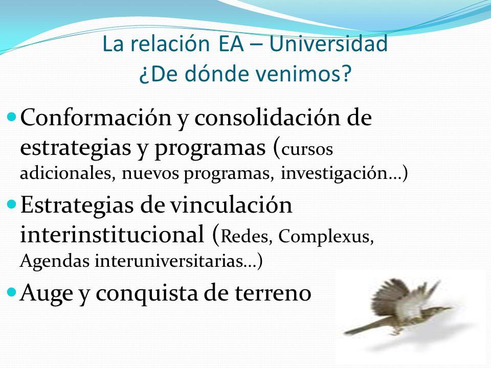 La relación EA – Universidad ¿De dónde venimos? Conformación y consolidación de estrategias y programas ( cursos adicionales, nuevos programas, invest
