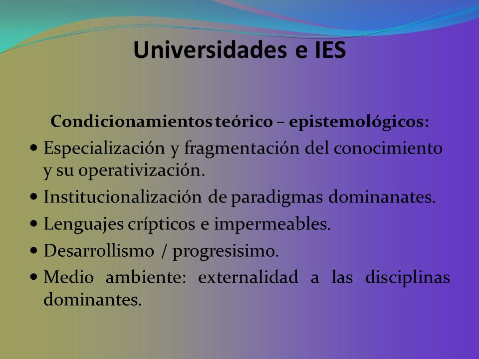 Universidades e IES Condicionamientos teórico – epistemológicos: Especialización y fragmentación del conocimiento y su operativización. Institucionali